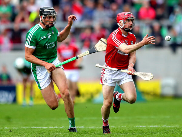 Limerick's Gearoid Hegarty and Daniel Kearney of Cork. Picture: INPHO/James Crombie