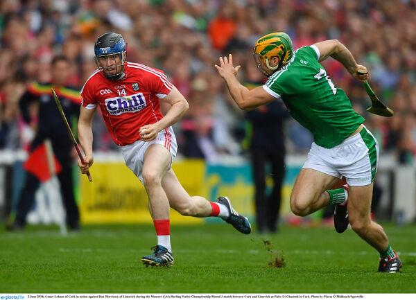 Conor Lehane is tracked by Dan Morrissey. Picture: Piaras Ó Mídheach/Sportsfile
