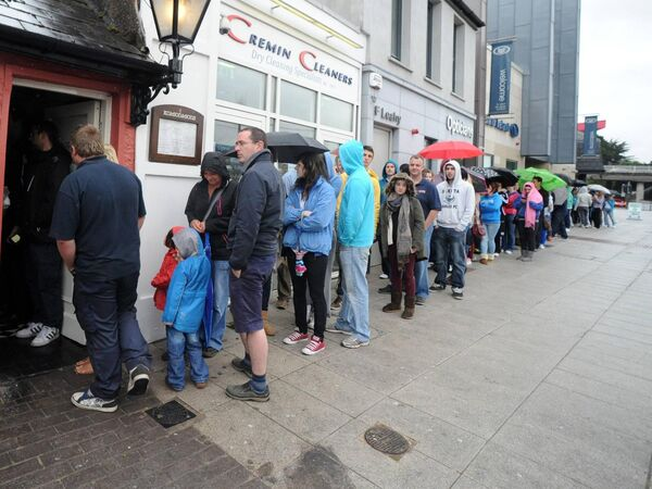 A long queue outside KC's Chipper in Douglas in 2012 marking its reopening after a short closure due to flood damage. Picture: Eddie O'Hare