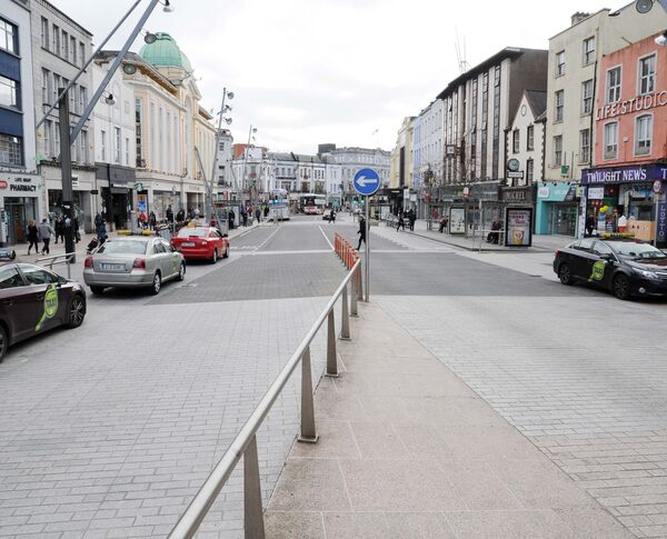 Patrick Street during the traffic restrictions. Picture: Denis Minihane.