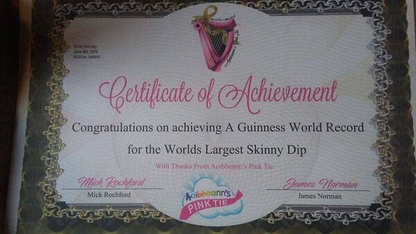 Nicola's certificate showing she took part in the World Record World's Largest Skinny Dip