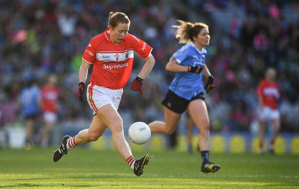 Rena Buckley takes on the Dubs in 2016 in her last ladies football outing for Cork. Picture: Brendan Moran/Sportsfile