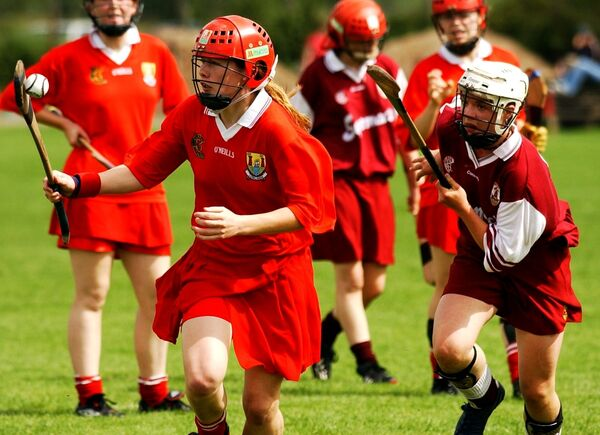 Rena Buckley gets away from Caroline Kelly, Galway, in the minor camogie All-Ireland final. Picture: Gerard McCarthy