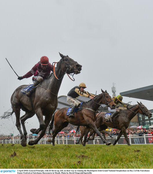General Principle, with JJ Slevin up, left, on their way to winning the BoyleSports Irish Grand National Steeplechase. Picture: David Fitzgerald/Sportsfile