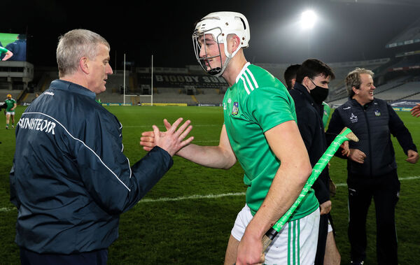 Limerick manager John Kiely with Kyle Hayes. Picture: INPHO/Tommy Dickson