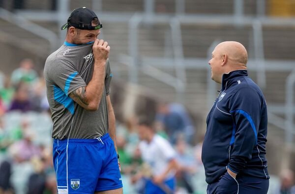 Waterford manager Derek McGrath with selector Dan Shanahan. Picture: INPHO/Morgan Treacy