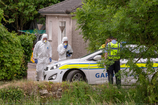 Forensics Officers at the scene where a man was attacked and subsequently died near Ballincollig. Picture: John Delea.