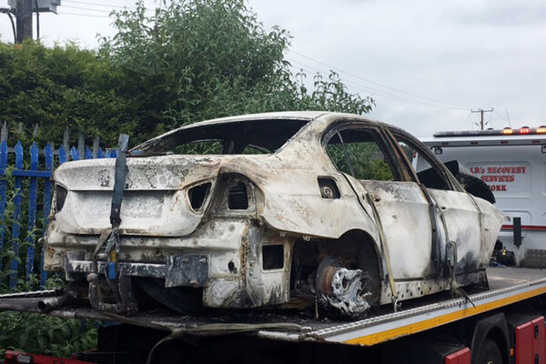 A burned out car which is suspected to have been used as a getaway vehicle in the fatal attack of a man at Maglin road, Ballincollig, co. Cork. Pic Daragh Mc Sweeney/Provision