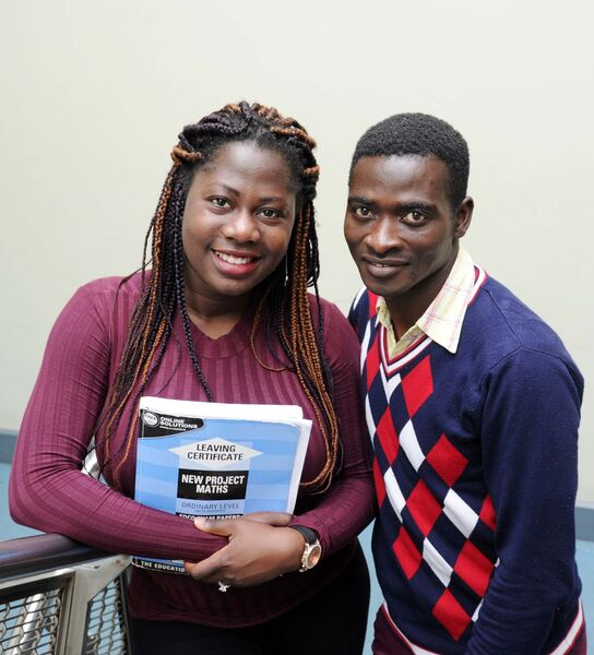 Samuel Opoku and Vivian Aimiuwu who are studying the adult leaving certificate programme at Cork College of Commerce. Picture: Denis Minihane.