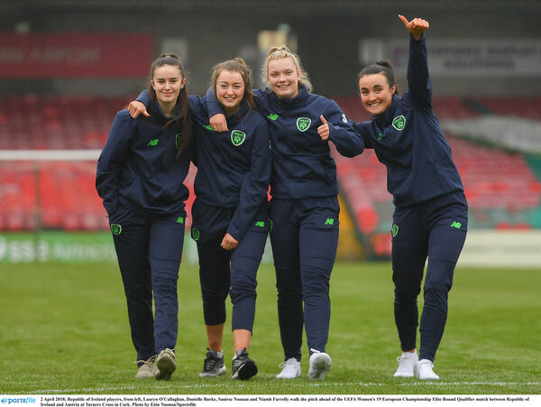 Lauryn O'Callaghan, Danielle Burke, Saoirse Noonan and Niamh Farrelly walk the pitch. Picture: Eóin Noonan/Sportsfile