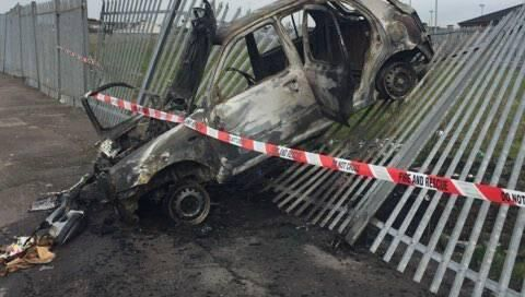 A burnt out car at Kilmore Road in Cork city.