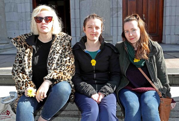 Nicole Flanagan, Rochestown, Linda Young, and Sarah O'Connor at the I Believe Her Solidarity Rally outside City Hall. Picture: Jim Coughlan.