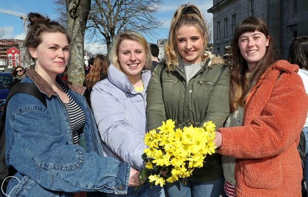Students, Gillian O'Brien, Emma O'Brien, Ellen Daly and Emer Kiely, at the Rally. Picture: Jim Coughlan.