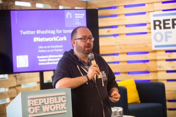 DC Cahalane, CEO Republic of Work speaking at the Network Cork meeting titled 'How to adapt your marketing strategy to appeal to Millennials' in Republic of Work.Picture Darragh Kane
