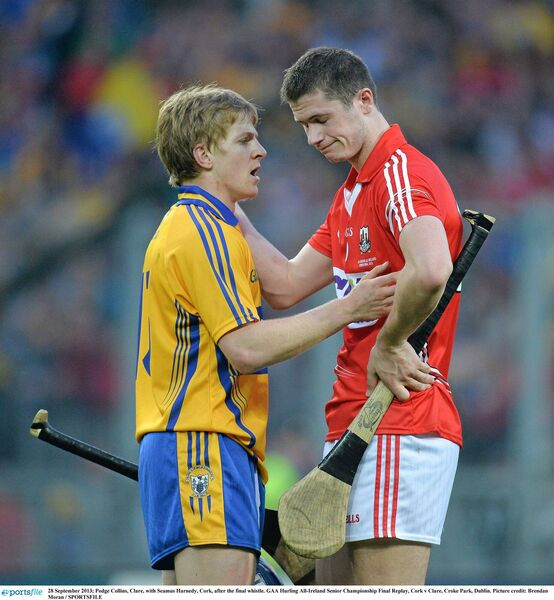 Podge Collins with Seamus Harnedy in 2013. Picture: Brendan Moran/SPORTSFILE
