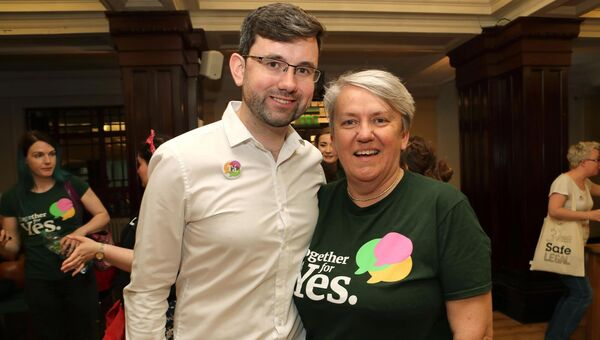 Padraig Rice, Cork Gay Project and Kate Moynihan, LINC, celebrate the result. Picture: Jim Coughlan.