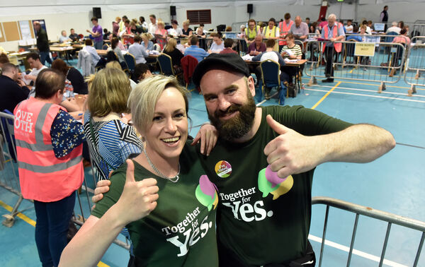 Kate O'Connell, Fermoy and Cormac Desmond, Turners Cross at the referendum count at Colaiste Choilm, Ballincollig Picture: Eddie O'Hare