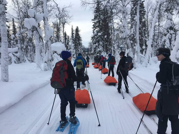 The group undertaking the 150km trek north of the Arctic Circle.