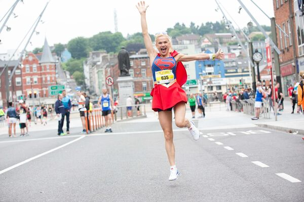 Dolores Duffy who ran the marathon dressed as superwoman