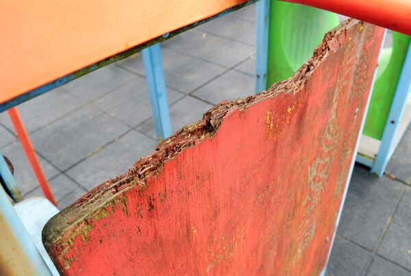 Playground equipment which is deteriorating. Picture: Denis Minihane.