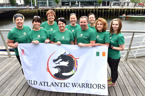 Members of the Wild Atlantic Warriors from left, Helen McCauley, Hilda Collins, Linda Cronin, Martha Torpey, Val Elliff, Mark O'Connor, Caroline Warren, Tracy Hyde and Rachel SlyePicture: Eddie O'Hare