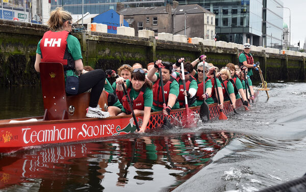 Sharon McDonnell, drummer with members of the Wild Atlantic Warriors in training on the River Lee Picture: Eddie O'Hare