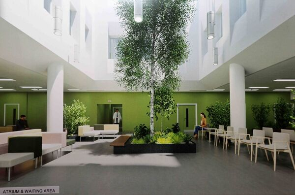 General View, artist impression of the atrium and waiting area of the new Radiation Oncology Centre. Picture: Jim Coughlan.