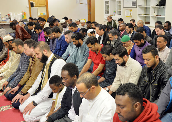 At prayer during an Eid celebration at the end of Ramadan in the Islamic Information Centre, Shandon St. Picture: Denis Minihane.