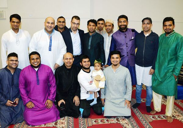 A group photographed at an Eid celebration at the end of Ramadan in the Islamic Information Centre, Shandon St. Picture: Denis Minihane.