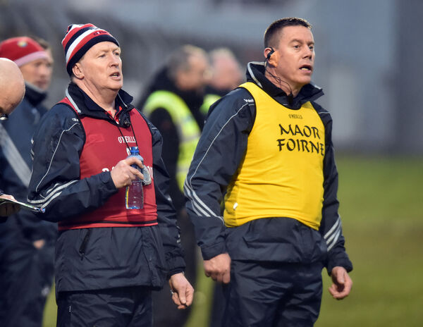 Cork coach Bobby O'Dwyer and selector Ollie Rue O'Sullivan. Picture: Eddie O'Hare
