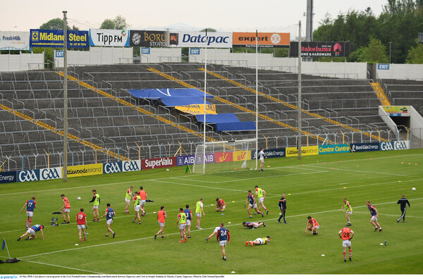 Cork warm up in Thurles. Picture; Eóin Noonan/Sportsfile