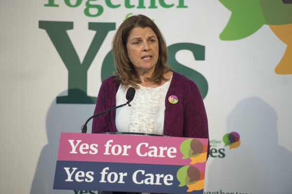 Dr. Mary Favier speaking at a Together For Yes conference