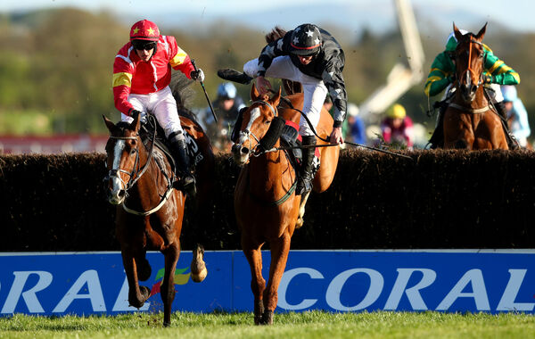 Paul Townend on Patricks Park in red clears the last. Picture: INPHO/James Crombie