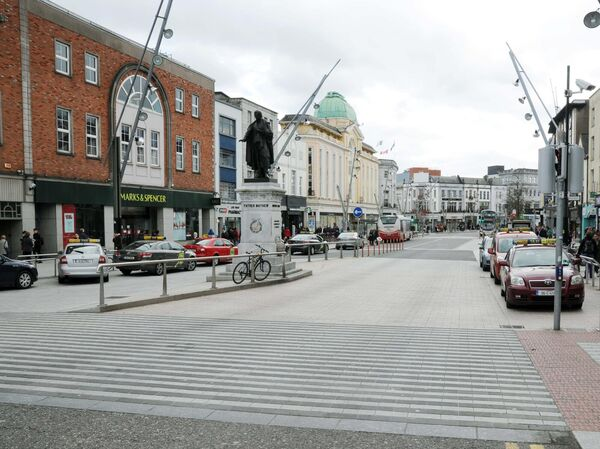 The traffic restrictions mean Patrick Street is only open to buses and taxis.Picture: Denis Minihane