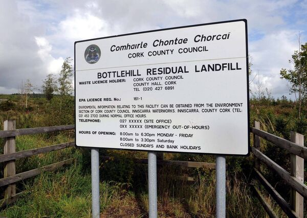 A sign at the entrance to Bottlehill Residual Landfill. Picture: Denis Minihane.