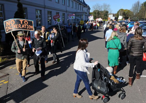 A protest underway prior to the start of the An Bord Pleanala oral hearing into the Indaver Ireland application for an incinerator at Ringaskiddy in 2016. Picture: Denis Minihane.
