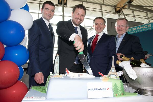 Minister of State for Tourism Brendan Griffin, Ivo Steffans, Air France, Daragh Hanratty, Head of Aviation Marketing Cork Airport and Nial Gibbons, CEO Tourism Ireland at the inaugural Air France Flight between Cork International Airport and Paris-Charles de Gaulle. Pic Darragh Kane