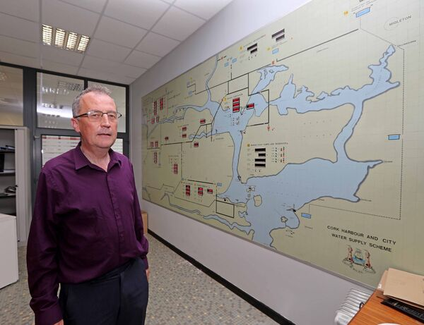 Patrick Kelly, Acting Senior Executive Engineer, at the Flows & Levels Mimic Board at the Cork Harbour and City Water Supply Scheme, Inniscarra Waterworks.	Picture: Jim Coughlan