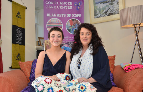 Ambassador of 'Just Say Cancer' Nuala O'Brien and Linda Goggin James, General Manager with one of the 'Blankets of Hope' at the Cork Cancer Care Centre. Picture: Howard Crowdy