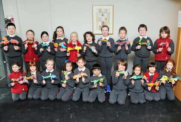 First and second class pupils from Rockboro Primary School, Cork, who took part in the Monsters In The Museum workshop in the Glucksman Gallery, UCC. Picture: Denis Minihane.