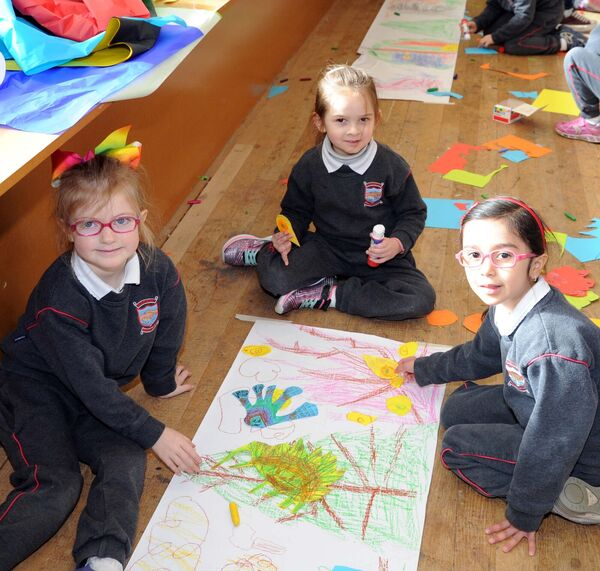 Pupils (from left) Pearl Norman, Sofia Garotte and Jimena Cruz of Rockboro Primary School, Cork, who took part in the Monsters In The Museum workshop in the Glucksman Gallery, UCC. Picture: Denis Minihane.