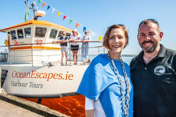 Owner/directors Orla O'Neill and Andrew O'Riordan pictured at the launch of a new 72-seater tour boat for the summer season connecting Cobh and Cork City. Pic: Brian Lougheed
