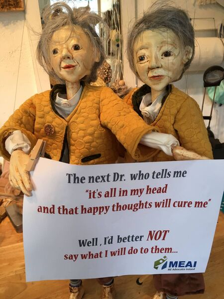 WE ARE REAL PEOPLE: Two of artist Corina Duyn's puppets get the message across about M.E