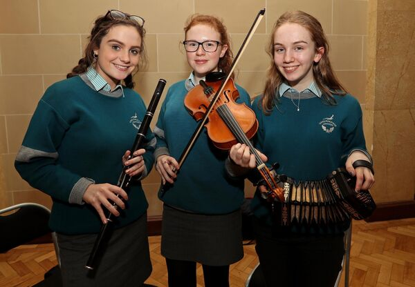 Adele Murphy, Orlaith Murphy and Kate Nì Shea, all from Gaelcolaiste Choilm, who performed prior to the Cork International Choral Festival Gala Concert. Picture: Jim Coughlan.