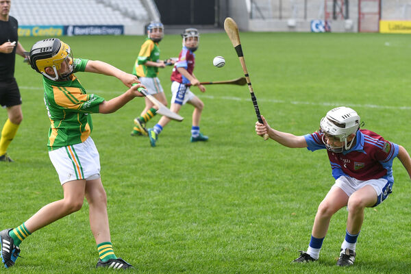 Dungourney's Richie Harney shoots under pressure from Berrings' Michael Murphy at Páirc Uí Chaoimh. Picture: David Keane