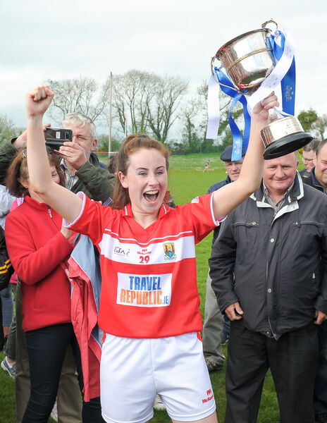 Cork captain Sarah O'Brien lifts the cup. Picture: David Keane.