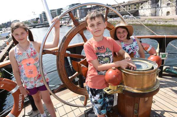 Pictured onboard the Pelican are Claudia, Cormac and Mary Long, from Mallow. Pic; Larry Cummins