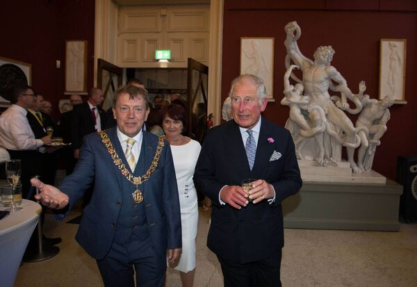 The Prince of Wales and Lord Mayor of Cork Tony Fitzgerald at Crawford Gallery.