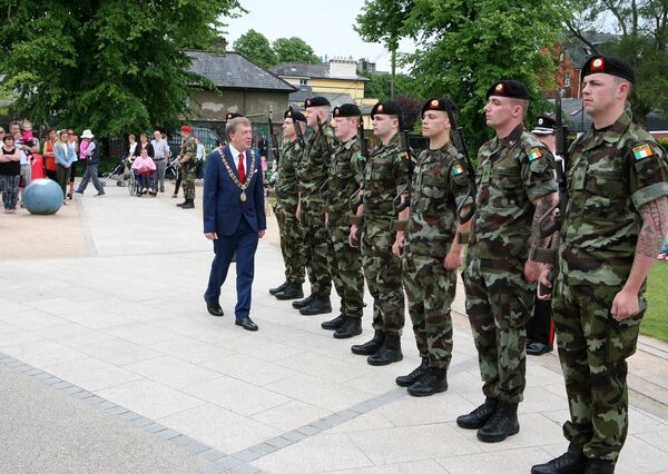 At Fitzgerald's Park for the Defence Forces Open Day Lord Mayor Cllr.Tony Fitzgerald, Inspects the Guard of Honour. Picture, Tony O'Connell Photography.