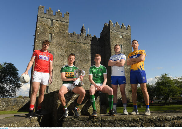 Footballers, from left, Ian Maguire of Cork, Fionn Fitzgerald of Kerry, Donal O'Sullivan of Limerick, James McGrath of Waterford, and Gary Brennan of Clare, at the launch of the Munster Championships. Picture: Piaras Ó Mídheach/Sportsfile